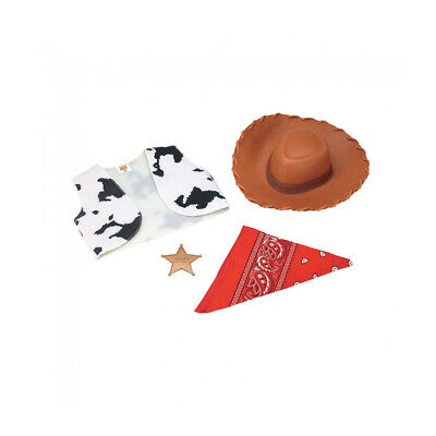 Woody Toy Story Child Accessory Kit Hat Cow Print Vest Bandana Sheriff Badge - Woody Vest