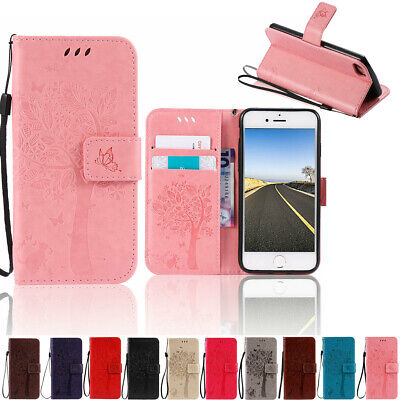 Leather Wallet Card Holder Folding Phone Case For iPhone 5S 6S 7 8 Plus XR XS (Iphone 7 Phone Case With Card Holder)