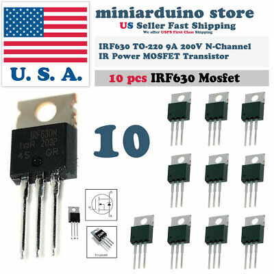 10pcs Irf630 Irf630n Power Mosfet 9a 200v To-220 Ir Transistor