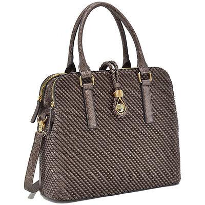 New Dasein Weaved Leather Satchel Handbag Purse Briefcase Totes Shoulder Bag