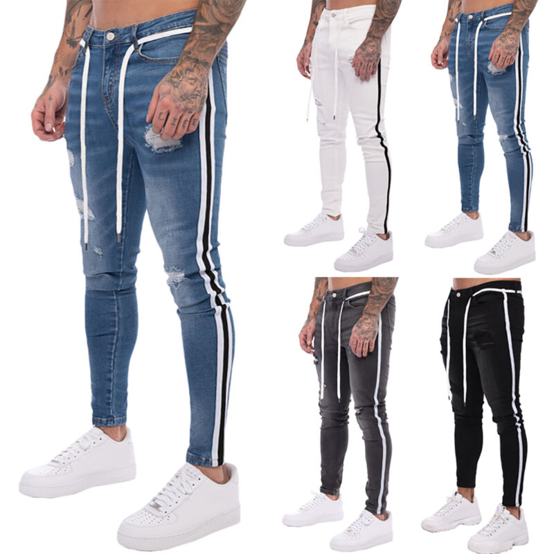 mens ripped slim fit denim long pants