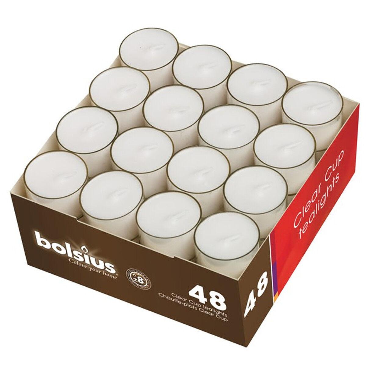 Teelichter im Acryl Cup transparent ca. 8 Stunden Brenndauer Bolsius Teelichte