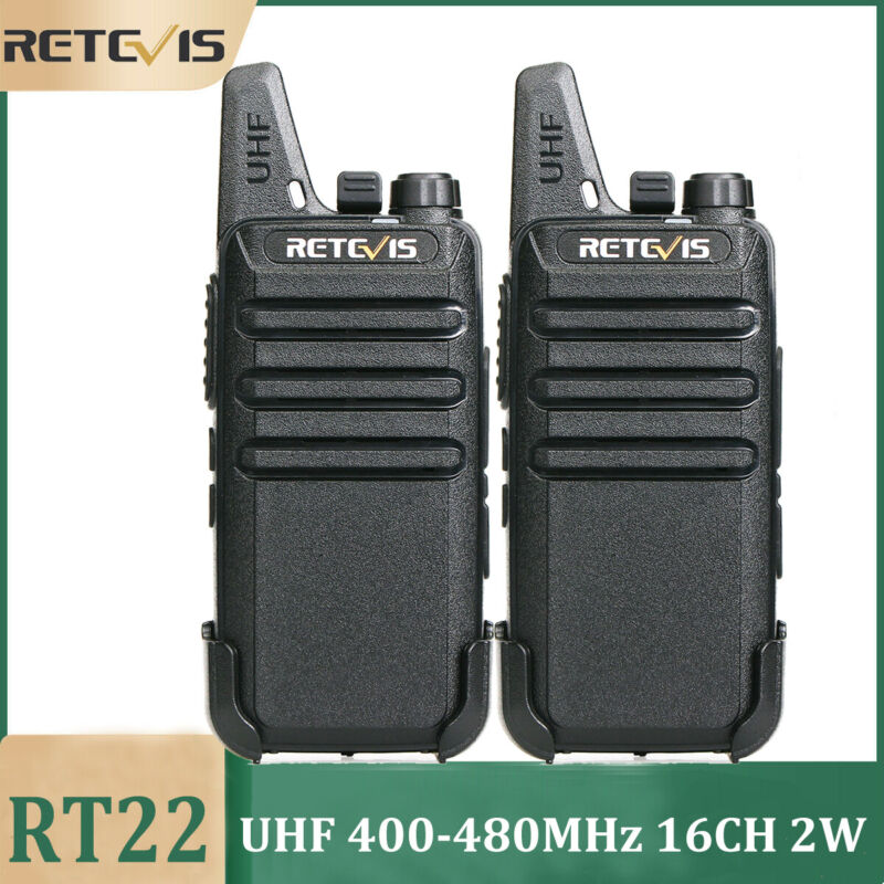 Retevis RT22 UHF Long range two way radios 2W Rechargeable Walkie Talkies(2PCS)