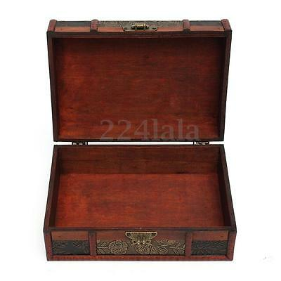 Large Decorative Trinket Jewelry Lock Chest Handmade Wooden Storage Bo