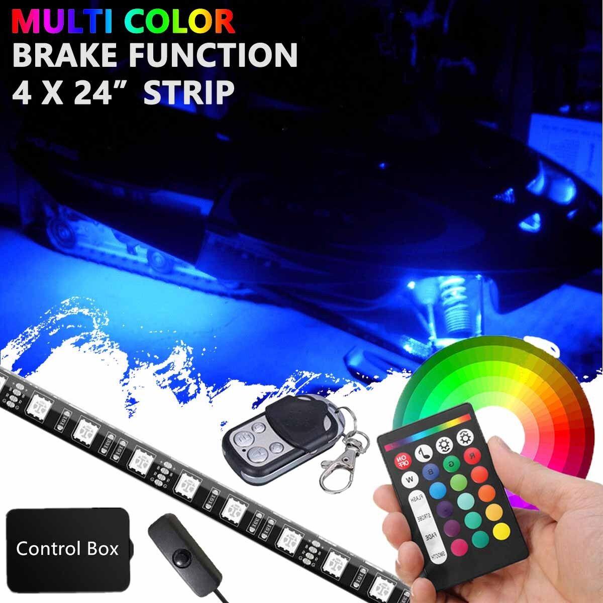 """4x 24"""" LED Snowmobile Neon Underglow Light Strip Full Color Custom Lighting Kit"""