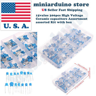 15value 300pcs High Voltage Ceramic Capacitors Assortment Assorted Kit With Box