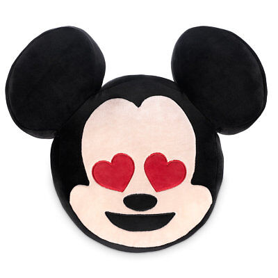 """Disney Store Authentic Mickey Mouse Emoji Plush Pillow Two Sided 17"""" Wide NWT"""
