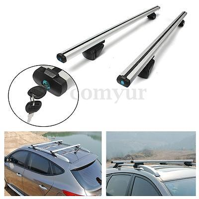 135cm Aluminium Lockable Anti Theft Car Roof Bars Rack With Rails Locking Bar