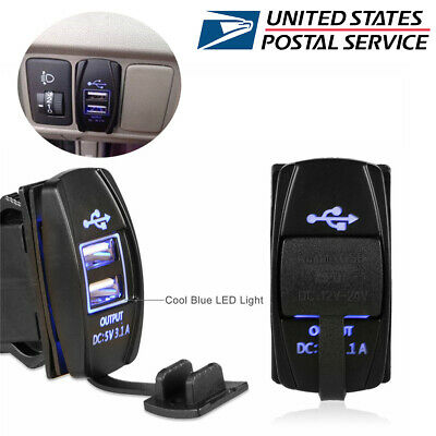 12-24V 3.1A Dual LED USB Car Auto Power Supply Charger Port Socket Waterproof US