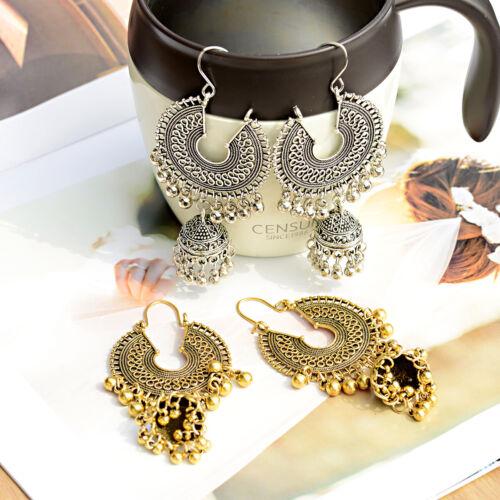 Gold Silver Gypsy Jhumka Indian Round Tassel Charm Women Dro