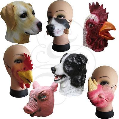 Meistverkauft Latex Maske - Halbes Gesicht / Voller Kopf Tier Hund Hahn Huhn