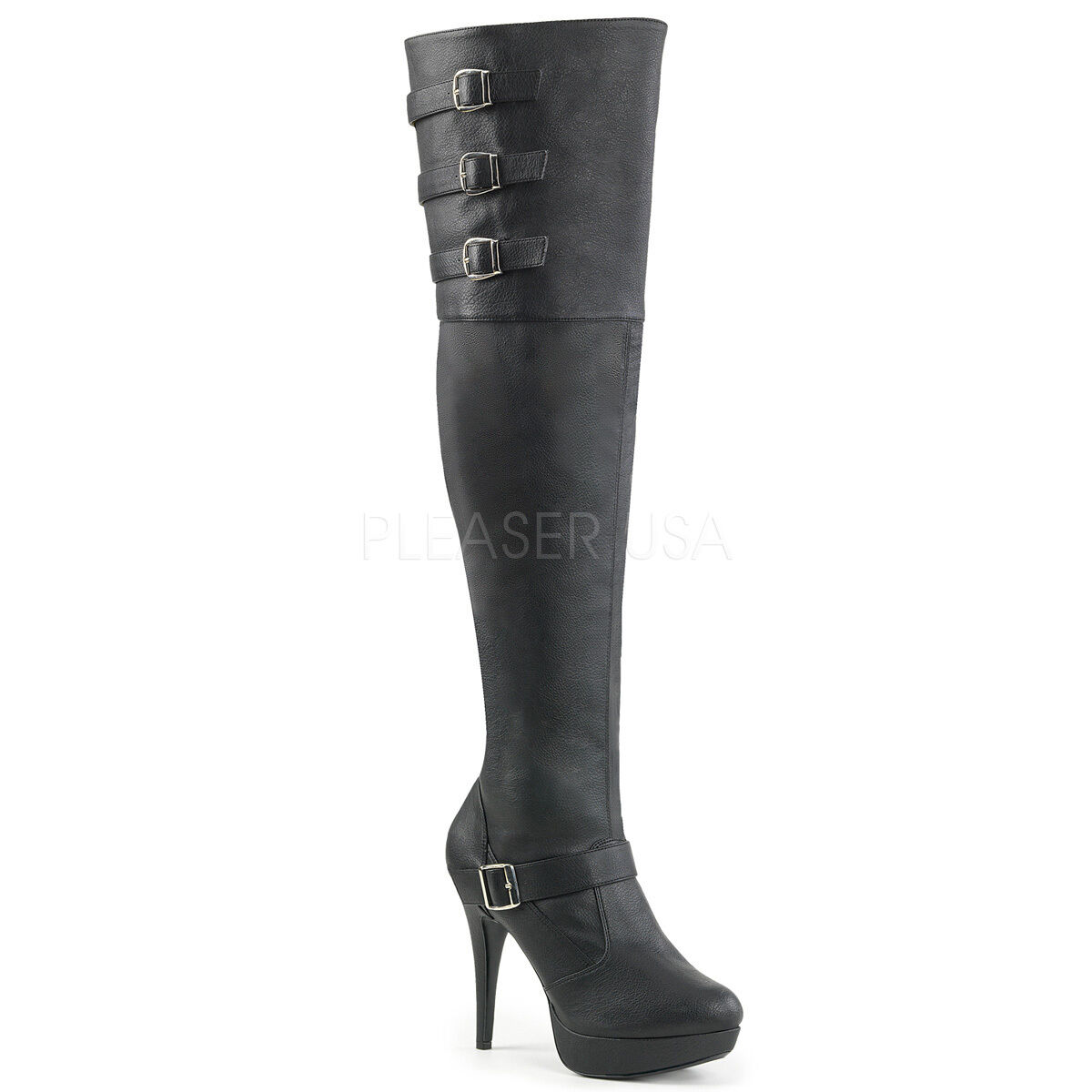 Black Thigh High Over the Knee Leather Platform Boots Womans