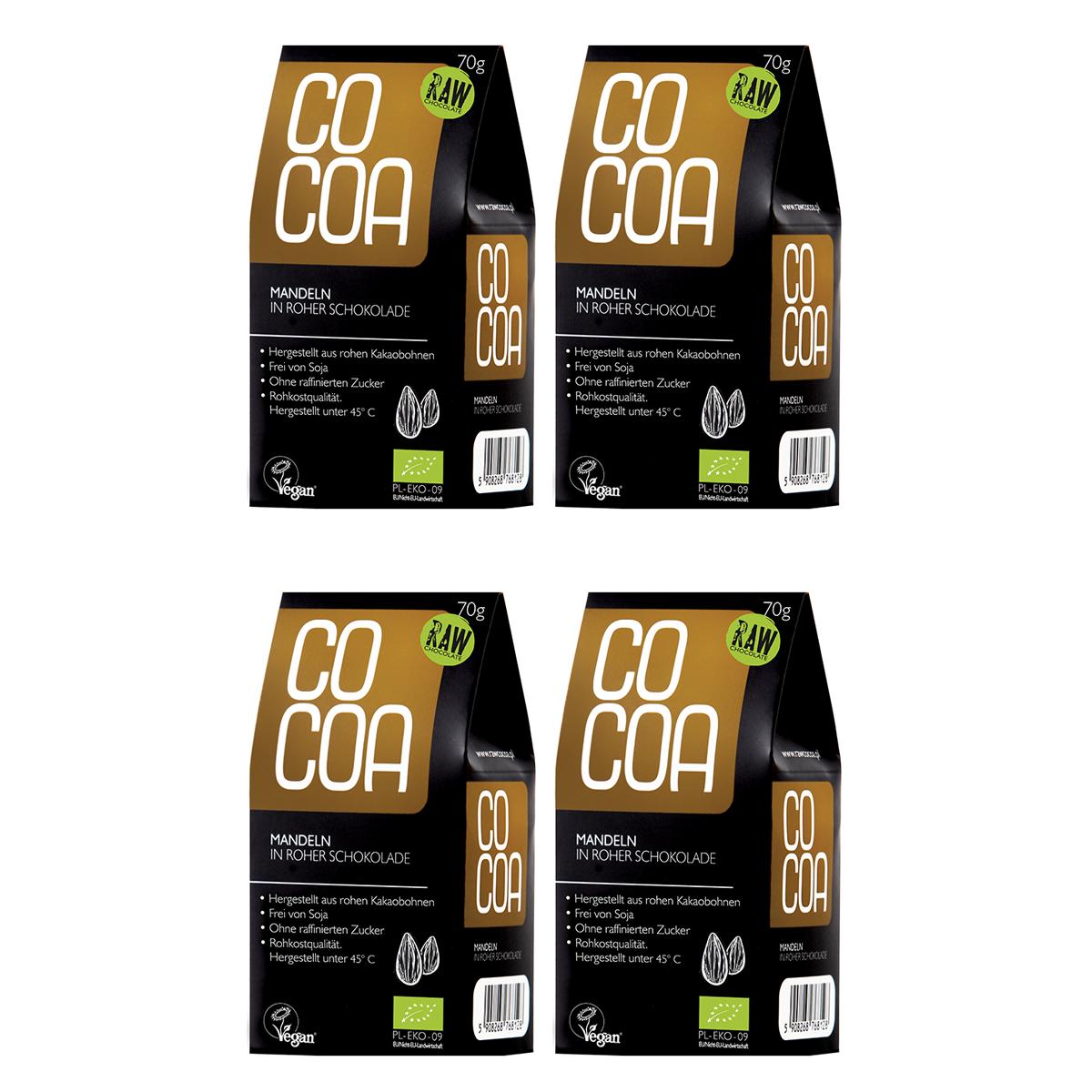 Raw Cocoa Bio Schokonüsse Mandeln in Roher Schokolade, 4 x 70 g, Ungeröstet