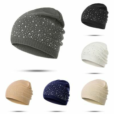 Women Knitted Cotton Winter Warm Cap Diamonds Glistening Hats Christmas Gift