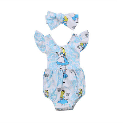 NEW Alice in Wonderland Baby Girls Romper Bodysuit Headband Outfit Set (Alice Outfit)