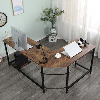 L-shaped Desk Corner Computer Gaming Laptop Table Workstation Home Office Brown