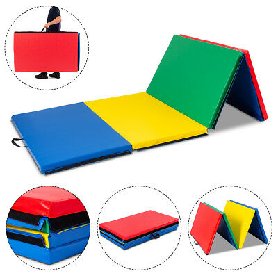"""New 4'x10'x2"""" Gymnastics Mat Folding Panel Thick Gym Fitness Exercise Multicolor"""