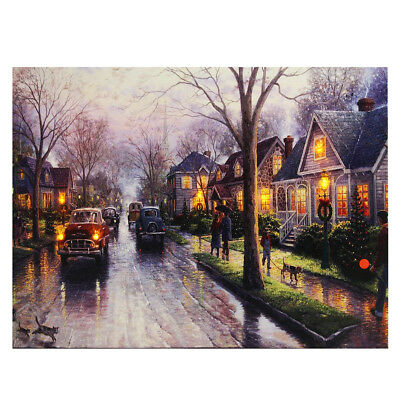 LED Light-up Snow Street Canvas Art Picture Print Home Wall Decor with Frame ()