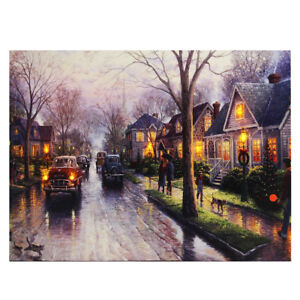 LED Light-up Snow Street Canvas Art Picture Print Home Wall Decor with Frame