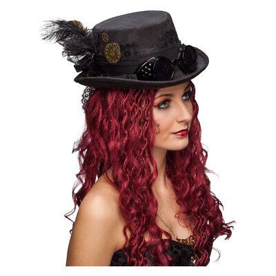 nk schwarz mit Brille Fantasy für Damen Kostümzubehör KW58 (Steampunk Kostüm Zubehör)
