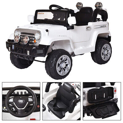 12V Kids Ride On Car Battery Power Wheels Truck Remote Control W/ MP3 White