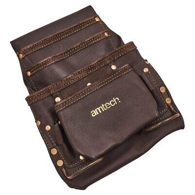 Am-tech 4 Pocket Heavy Duty Genuine Leather Tool Belt Pouch Electrician Plumber