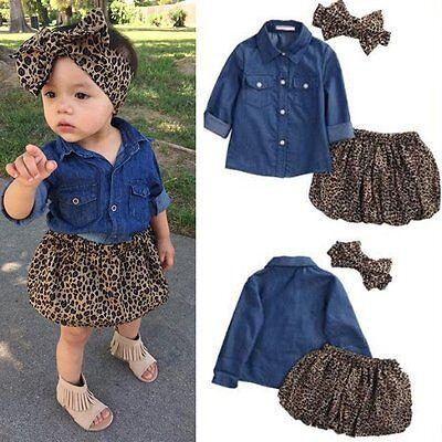 3PCS Toddler Kids Baby Girl Denim Shirt+Skirt Dress+Headband Outfits Clothes Set