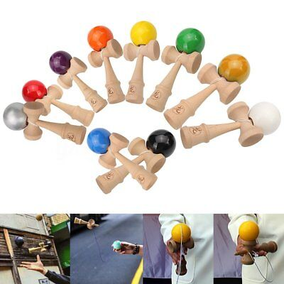 Traditional Wooden Toys (Wooden Kendama Toy Beech Solid Ball Extra String Traditional Game Juggling)