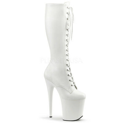 Pleaser FLAMINGO-2023 Knee High Boots White  Platform Lace-Up Stripper Exotic
