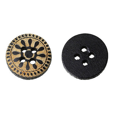 20 Black and Natural Wooden Buttons 13mm. Embellishment, sewing, card making