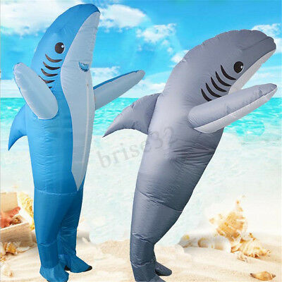 Funny Inflatable Costumes Adult Halloween Fancy Dress Scary Shark Dress Costume (Scary Funny Halloween Costumes)