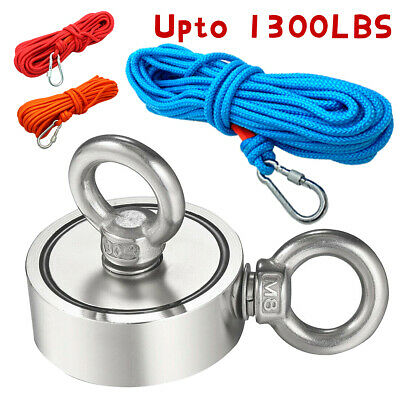 Fishing Magnet Kit Up To 1300 Lbs Pull Force Strong Neodymium Rope Carabiner