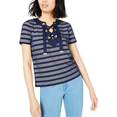 MICHAEL Michael Kors Womens Navy Grommet Lace-Up Pullover Top Shirt XS BHFO 9979
