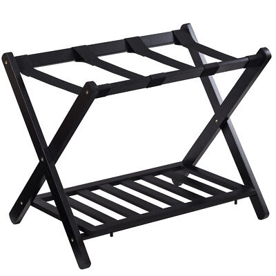 Folding Luggage Rack with Shelf Travel Suitcase Shoe Storage Holder Wood Stand