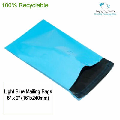 10 Recyclable Plastic Poly Mailing Bags Light Blue 6 x 9