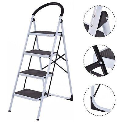 4 Step Kitchen Office Ladder Folding Stool Heavy Duty Indust