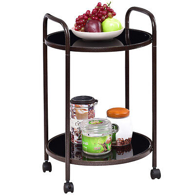 2-Tier Round Rolling Kitchen Trolley Serving Cart Dining Bar Storage Utility New