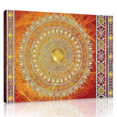 Indische Leinwand Kunst (CANVAS Wandbild Leinwandbild Bild Indische Rosette Orange Kunst Foto 3FX10119O6)