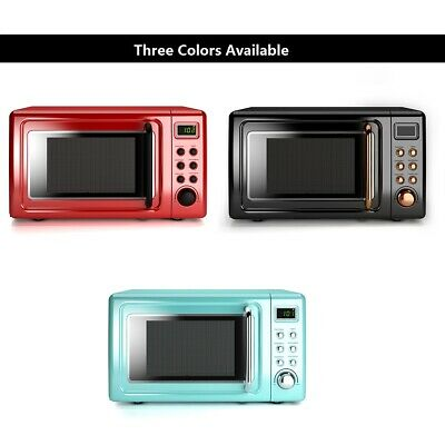 Costway 0.7Cu.ft Retro Countertop Microwave Oven 700W LED Display Glass