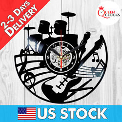Music Instruments Notes Jazz Rock Musician Vinyl Record Wall Clock Best Gifts