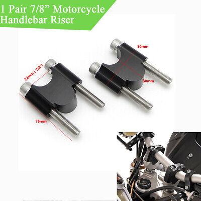 """7/8"""" 22mm Handlebar Bar Mount Clamp Riser Holder Black for Motorcycle Dirt Bike"""