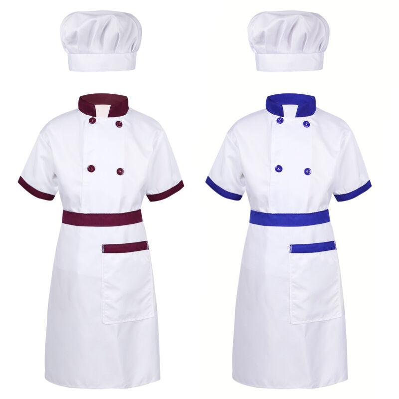 6cff5a0cc1d28 Kids Boys Girls Chef Halloween Costume Party Cosplay Shirt+Apron+Hat ...