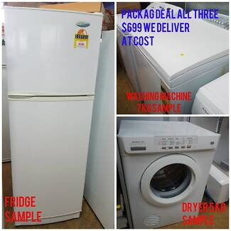 PACKAGE-DEAL-FRIDGE-WASHING-MACHINE-DRYER-REFURBISHED-WITH-3-MONT
