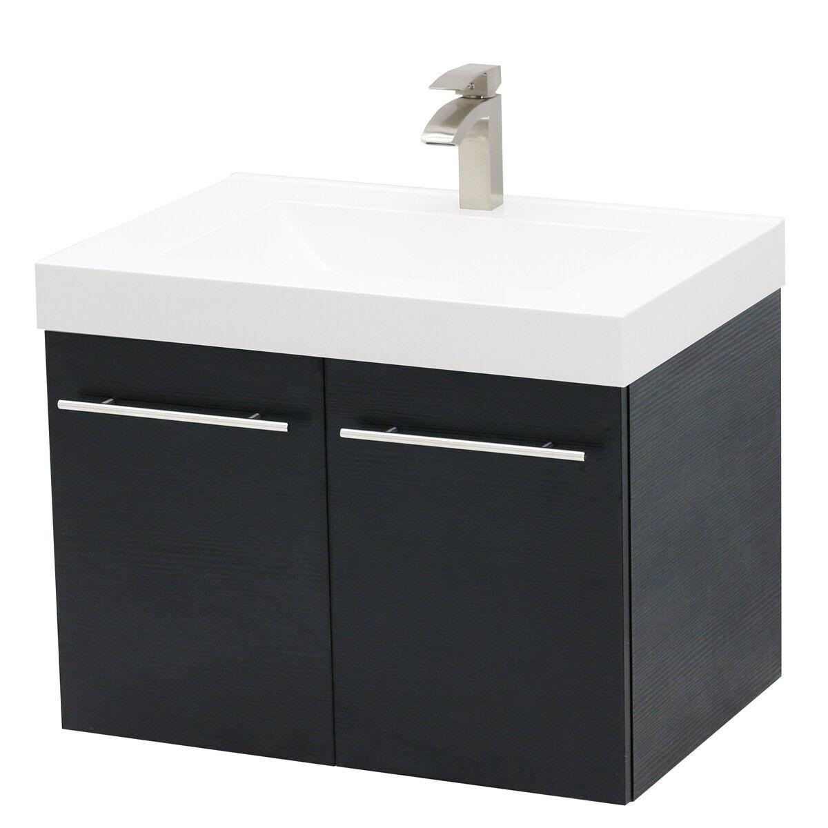 "WindBay 30"" wall mount floating bathroom vanity sink set, Bl"