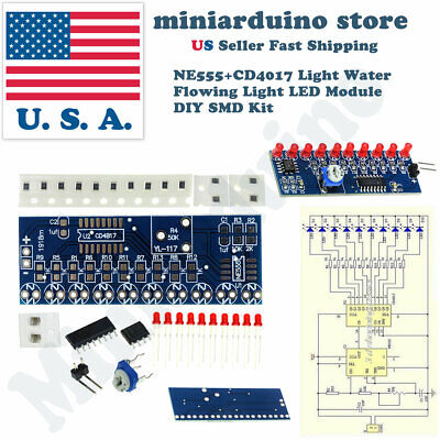 Diy Light Water Flowing Sensor Led Ne555 Cd4017 Not Soldered Module Smd Kit