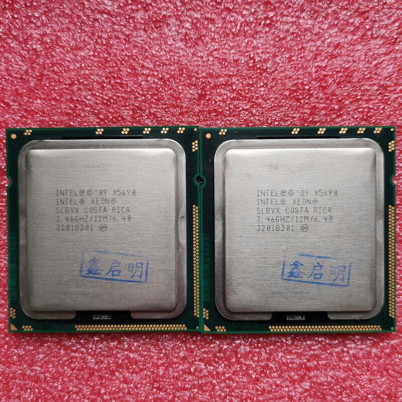Matched Pair Intel Xeon X5690 3.46GHZ SLBVX 6Core 12MB LGA 1366 CPU Processors