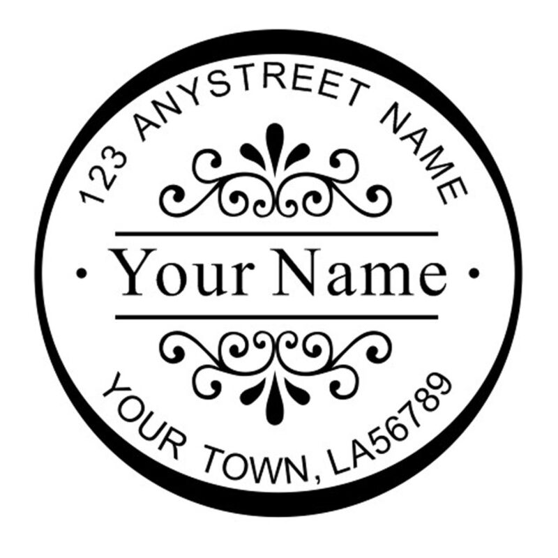 Custom Decorative Name Return Address Round Self Inking Rubber Stamp