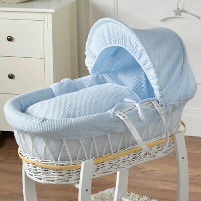 Brand New-Deluxe Padded Moses Basket Blue Waffle White Wicker for sale  Shipping to South Africa