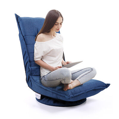Cushion 5 Position - 5-Position Adjustable Floor Chair Folding Lazy Sofa Cushioned Couch Lounger Blue