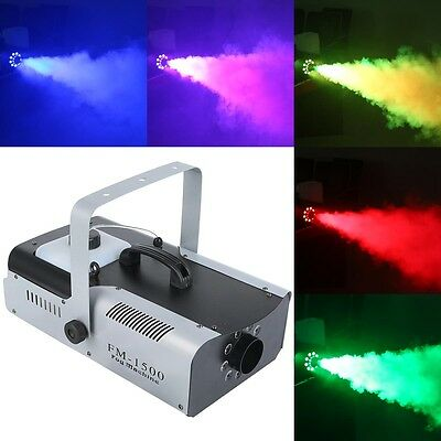 1500 Watt Smoke Fog Machine 9 LED Lights Remote Control DJ Party Stage Fogger